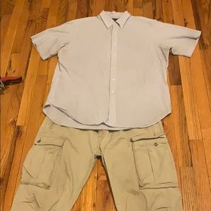 Polo shirt (XL) and Levi cargo jeans